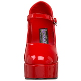Rouge Verni 11 cm MARYJANE-50 Mary Jane Escarpins Haut Talon