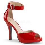 Rouge Verni 12,5 cm EVE-02 grande taille sandales femmes