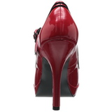 Rouge Verni 12 cm PINUP SECRET-15 Mary Jane Escarpins Haut Talon