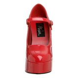 Rouge Verni 13 cm DOLLY-50 Mary Jane Escarpins Haut Talon