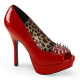 Rouge Verni 13 cm PIXIE-17 Chaussures femme a talon avec rivets