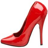 Rouge Verni 15 cm DOMINA-420 talon aiguille très haut et bout pointu