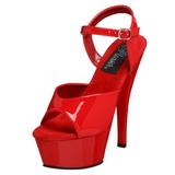 Rouge Verni 15 cm Pleaser KISS-209 Talons Hauts Plateforme