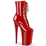 Rouge Verni 23 cm INFINITY-1020 talons très hauts - bottines plateforme extrême