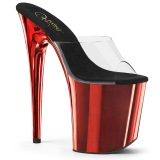 Rouge chrome plateforme 20 cm FLAMINGO-801 mules talons hauts pleaser