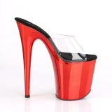 Rouge chrome plateforme 20 cm FLAMINGO-801 mules talons hauts pleaser