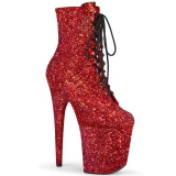 Rouge glitter 20 cm FLAMINGO-1020GWR exotic bottines de pole dance