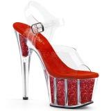 Rouge paillettes 18 cm Pleaser ADORE-708G chaussure à talons de pole dance