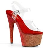 Rouge paillettes 18 cm Pleaser ADORE-708OMBRE chaussure à talons de pole dance