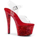 Rouge paillettes 18 cm Pleaser SKY-308LG chaussure à talons de pole dance