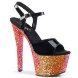 Rouge paillettes 18 cm Pleaser SKY-309LG chaussure à talons de pole dance