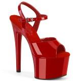 Rouge sandales plateforme 18 cm PASSION-709 sandales talons hauts pleaser