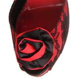 Rouge tissu en dentelle 13,5 cm BELLA-17 Sandales de Soirée a Talon