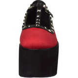 Rouge toile 8 cm CLICK-07 plateforme chaussures lolita