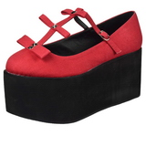Rouge toile 8 cm CLICK-08 plateforme chaussures lolita