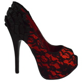 Satin Rouge 14,5 cm Burlesque TEEZE-19 Escarpins Talon Haut Stiletto