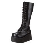 Similicuir 8,5 cm TRASHVILLE-502 Bottes punk noir avec lacets homme