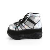Similicuir Argent 7,5 cm NEPTUNE-100 Chaussures Gothiques Hommes Plateforme