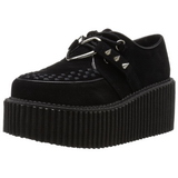 Similicuir Noir CREEPER-206 Chaussures Creepers Femmes Plateforme