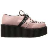 Similicuir Rose CREEPER-206 Chaussures Creepers Femmes Plateforme