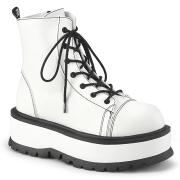 Similicuir boots 5 cm SLACKER-55 bottines à lacets blanches