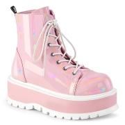 Similicuir boots 5 cm SLACKER-55 bottines à lacets rose