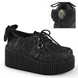 Tissu en dentelle CREEPER-212 Chaussures Creepers Femmes Plateforme