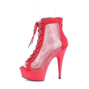 Tissu en maille strass 15 cm DELIGHT bottines plateforme à lacets en rouge