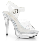 Transparent 13 cm COCKTAIL-508SD chaussures à talons plateforme strass