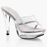 Transparent 14 cm COCKTAIL-501R Mules Femmes Pierre Cristal Talons