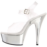 Transparent 15 cm Pleaser DELIGHT-608 Talons Aiguilles Chrome Plateforme