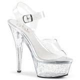 Transparent 15 cm Pleaser KISS-208MMG chaussures à talons etincelle