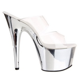 Transparent 18 cm ADORE-702 Chrome Plateforme Mules Chaussures