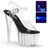 Transparent 18 cm ADORE-708VLRS chaussures à talons plateforme strass