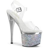 Transparent 18 cm ESTEEM-708CHLG plateforme sandales talons hauts de pole dance argent