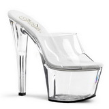 Transparent 18 cm PLEASER SKY-301 Plateforme Mules Chaussures