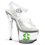 Transparent 18 cm TIPJAR-708-8 sandales plateforme pour stripteaseuse