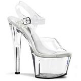 Transparent 18 cm TREASURE-708 sandales plateforme pour stripteaseuse