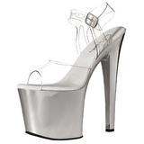 Transparent 19 cm TABOO-708 Chrome Plateforme Chaussures Talon Haut