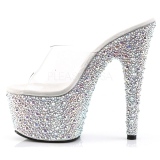 Transparent Argent 18 cm BEJEWELED-701MS Strass Plateforme Mules Hautes