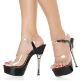 Transparent Noir 14 cm ALLURE-608 Chaussures Plateau Talon Haut