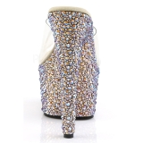 Transparent Or 18 cm BEJEWELED-701MS Strass Plateforme Mules Hautes