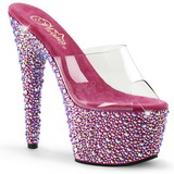 Transparent Rose 18 cm BEJEWELED-701MS Strass Plateforme Mules Hautes