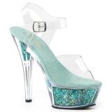 Turquoise 15 cm KISS-208GF etincelle sandales avec plateforme