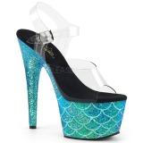 Turquoise 18 cm ADORE-708MSLG etincelle sandales avec plateforme