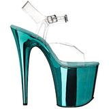 Turquoise 20 cm FLAMINGO-808 Chrome Plateforme Talons Hauts