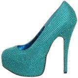 Turquoise Strass 14,5 cm Burlesque TEEZE-06R Talons Aiguilles Escarpins