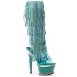 Turquoise Strass 16,5 cm ILLUSION-2017RSF bottes a frangees pour femmes a talon