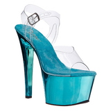 Turquoise Transparent 18 cm SKY-308 Plateforme Haut Talon