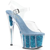 Turquoise paillettes 18 cm Pleaser ADORE-708G chaussure à talons de pole dance